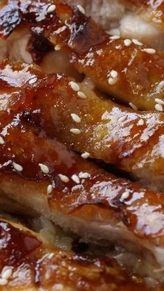 Baked Teriyaki Chicken ~ The chicken meat is to be all soaked up with delicious and savory mixture of soy sauce, vinegar, garlic, ginger, and sugar, and then baked in that mixture to a beautiful and extremely appetising slightly browned outsides.