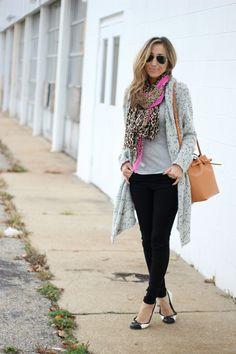 Black Leggings, cardigan, and cute scarf.