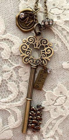 Jewelry/Pendants: Mickey Mouse Inspired Key Necklace ~ 'Believe' Cles Antiques, Objets Antiques, Key Jewelry, Jewelery, Jewelry Making, Under Lock And Key, Key Lock, Antique Keys, Vintage Keys