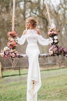 Gorgeous Long Sleeve Mermaid White Lace Long Wedding Dresses Bridal Gown, by RosyProm, $195.69 USD
