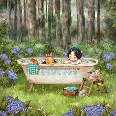 숲 속 목욕탕 (A Bathroom in the Forest) (Full Ver. http://grafolio.com/works/177856) 꽃잎 흩뿌린 욕조 물에 몸을 담그면 몸도 마음도 나른나른. 어디선가 들려오는 새소리와 은은한 나무 향기는 숲 속 목욕탕만의 장점이에요. Soaking my body in the bathtub filled full of flowers relaxes both my body and soul. The bird's whispering sound and delicate fragrance of trees can be enjoyed in a forest bathroom only. #일러스트 #일러스트레이션 #휴식 #목욕 #숲속 #숲 #욕조 #소녀 #강아지 #수국 #나무 #illust #illustration #drawing #sketch #paint #girl #forest #bath #bathtub #hydrangea #dog