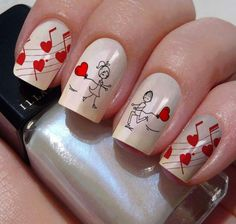 heart nail designs, Heart nail styles aren't just for Valentine's Day. you'll be able to conjointly produce cute hearts on your nails once you feel romantic Heart Nail Designs, Valentine's Day Nail Designs, Red Nails, Love Nails, Glittery Nails, Gorgeous Nails, Pretty Nails, Music Nails, Nail Art Instagram