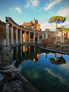 Rome - Hadrian's Villa in Tivoli Latium The Villa Adriana is an exceptional complex of classical buildings created in the 2nd century A.D. by the Roman emperor Hadrian. It combines the best elements of the architectural heritage of Egypt, Greece and Rome in the form of an ideal city