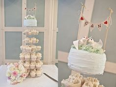ah love this! -- rustic cupcakes, wedding cake bunting and birds cake topper