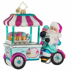 Whole Lotta Gelato Ornament by Christopher Radko Size: Release Date: Summer 2017 Includes Signature Tag and Official Christopher Radko Gift Box. Christopher Radko Ornaments have long been renowned as some of the finest ha Candy Land Christmas, Christmas Music, Pink Christmas, Radko Christmas Ornaments, Glass Ornaments, Classic Christmas Decorations, Holiday Decor, Pink Truck, Christopher Radko Ornaments