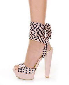 Promise Maui Blush Pink & Navy Heart Anklewrap Heels