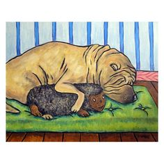 Shar Pei Sleeping With a Toy Dog Art Print by SCHMETZPETZ on Etsy https://www.etsy.com/listing/13235656/shar-pei-sleeping-with-a-toy-dog-art