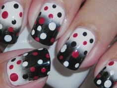 #nails #ombre #polkadots #red #black #white #fashion #womensfashion