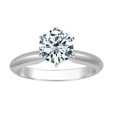 1 1/2 Carat Round Cut Diamond Solitaire Engagement Ring Platinum 6 Prong (J, I2, 1.5 c.t.w) Very Good Cut