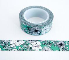 Elegant green flower washi tape for planners, scrapbooks, gift wrap...  http://www.maigocute.com/collections/washi-tape/products/elegant-green-flower-washi-tape
