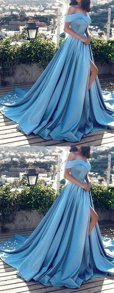 Modest Long Prom Dresses Princess, 2019 Light Sky Blue Formal Evening Dresses With Slit Light Sky Blue Prom Dresses Long, Princess Prom Dresses With Slit, 2019 Prom Dresses for Teenagers, Vintage Prom Dresses Off-the-shoulder Princess Prom Dresses, Prom Dresses 2018, Formal Evening Dresses, Dress Formal, Formal Wear, Orange Homecoming Dresses, Aqua Prom Dress, Winter Prom Dresses, Debut Dresses