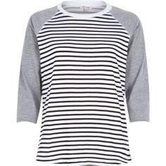 Navy stripe contrast raglan sleeve t-shirt - stripe t-shirts / vests - t shirts / vests / sweats - women