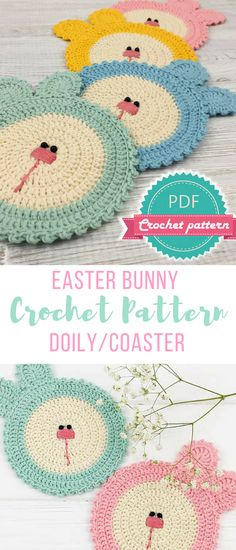 Crochet Amigurumi Rabbit Design these little Easter bunny crochet doilies patterns are SO cute! also could be used as coasters or just decorations for Easter - adorable and work up quick Easter Bunny Crochet Pattern, Crochet Coaster Pattern, Crochet Doily Patterns, Crochet Doilies, Crochet Stitches, Crochet Ideas, Holiday Crochet, Crochet Home, Crochet Crafts