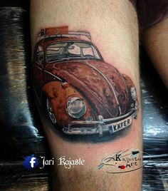 Rusty Beetle tattoo on guys thigh Mustang Tattoo, Vw Tattoo, Beetle Tattoo, Car Tattoos, Sleeve Tattoos, Tattoos For Guys, Future Tattoos, Tatoos, Loyalty Tattoo