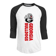 JUN Men's 3/4 Sleeve Georgia Bulldogs Football T-Shirt Black S ** Check this awesome image @