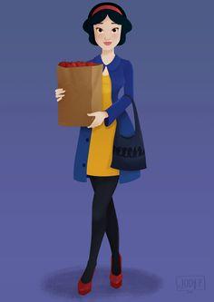 """ Modern Disney Princesses"" Illustration Series by Jody Pangilinan - 4) Snow White, Snow White and the Seven Dwarfs """