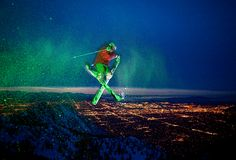 """""""I go into auto mode once I'm in the air,"""" says freeskier Tyler Peterson, seen here in a 360 true tail, a trick that involves grabbing the skis' tails while making a full revolution in the air. """"All the thinking and visualization happens before I ride off the jump."""" Peterson and"""