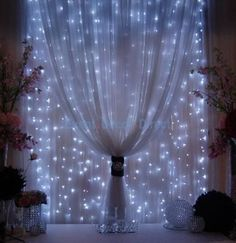 DIY backdrop- Strings of mini-lights attached to a rod behind sheer fabric.