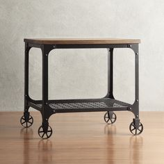 Bedside Table with Wheels Rolling Side Craft Industrial Mondern Rustic Rectangle | eBay