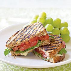 Did you know the grilled cheese sandwich has it's very own special day? What better excuse do you need to whip up this delicious grilled tomato and brie sandwich from Cooking Light? The best part is that it's healthy, too! Soup And Sandwich, Sandwich Recipes, Tomato Sandwich, Panini Sandwiches, Veggie Sandwich, Vegetarian Recipes, Cooking Recipes, Healthy Recipes, Snacks