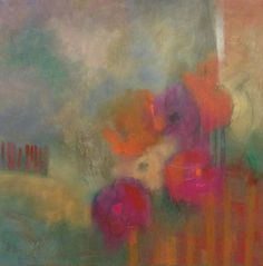 Abstract Contemporary Floral Oil and Texture Painting by Texas Artist M.Allison               'A Good Feeling'  36 X 36  oil, graph...