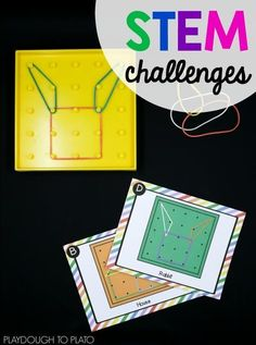 STEM Challenge: Geoboards! STEM Challenge: Geoboards! An awesome STEM activity that is always a huge hit with kindergarten, first grade and second grade kids! Perfect for STEM boxes, Makerspaces or math centers!