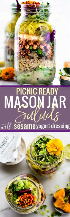 Mason jar salads are healthy, portable salads, picnic ready, and packed with veggies! Try Mason Jar Salads with sesame yogurt dressing for a balanced lunch!