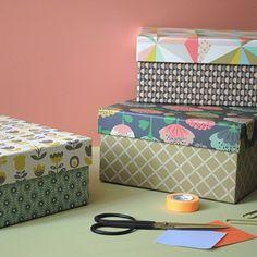 3 jolies boites de rangement carton - Motifs pop + origami + pivoines - Mini Labo + Atomic Soda