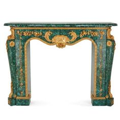 Louis XIV Style Gilt Bronze and Malachite Fireplace For Sale at Fireplaces For Sale, Marble Fireplaces, Modern Fireplaces, Mid Century Modern Furniture, French Furniture, Antique Furniture, Furniture Design, Fireplace Molding, Fireplace Mantels