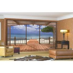 Komar 106 in. x 153 in. El Paradiso Beachfront Deck Mural-8-101 - The Home Depot