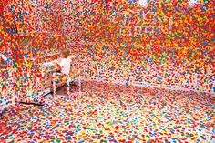 This is what happens when you give thousands of stickers to kids... art installation in Queensland.