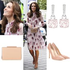 Despite of the chilly weather, Kate chose to wore a dress for summer, The $498 Encore Rose Chiffon Dress by Kate Spade New York. She paired it with her $675 Gianvito Rossi Praline suede pumps, L.K. Bennett Nina clutch, and £3400 Kiki McDonough morganite and diamond drop earrings♥️ I love her dress but it would be better if she wear a brighter one but it's okay. It would also looks good if she did a ponytail and compared it with black clutch and pumps, or her fern pumps💕 #katemiddleton