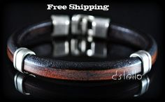 Man bracelet Leather Jewelry Personalized Men Black by Dstello Orange Leather, Men's Leather, Leather Jewelry, Bracelets For Men, Beaded Bracelets, Man Bracelet, Personalized Jewelry, Handcrafted Jewelry, Classy