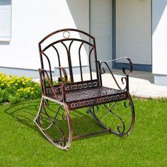 Poze BAM201 - Banca metalica gradina - Maro/Bronz Outdoor Chairs, Outdoor Furniture, Outdoor Decor, Rocking Chair, Metal, Home Decor, Homemade Home Decor, Rocking Chairs, Garden Chairs