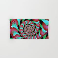 Archimedes' Magenta & Teal Tangent by Terrella.  Make your reflection jealous with this artist-designed Bath Towel. The soft polyester-microfiber front and cotton terry back are perfect for, well, drying your front and back. This design is also available as a hand and beach towel. Machine washable.