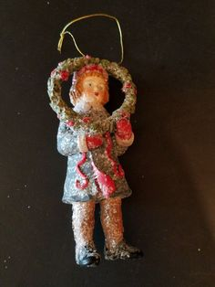 Bethany Lowe Retired Old Fashioned Christmas Ornament  Girl Holding Large Wreath