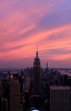 New York, New York... Empire State Building at sunset...
