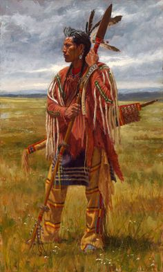 native american indians Protector of the Plains is a fine art giclee print depicting a Crow warrior standing on the Great Plains with his war spear and quiver and bow. Native American Warrior, Native American Paintings, Native American Pictures, Native American Artists, Native American History, Indian Artwork, Indian Paintings, Cherokees, Crow Painting