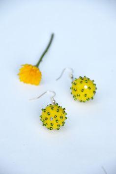 Felt earrings, Yellow felt earrings, beads,felt wool,felted jewelry,handmade,hand felted soft balls,unique jewelry,Eco-Friendly,gift for her by JirsaFELT on Etsy