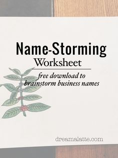Downloadable Name-Storming Worksheet