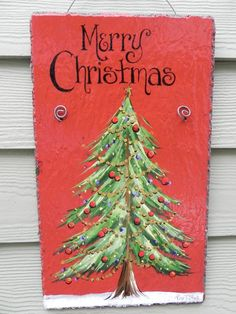 CHRISTMAS TREE  Merry Christmas  Hand Painted by DancingBrushes, $49.00