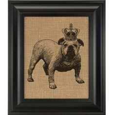Bulldog in Chas Crown burlap wall art print by BurlapWallDecor, $17.00 Burlap wall decor