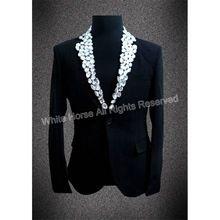 Hombres Traje Chaqueta Veste Homme Traje Con Cuentas Negro chaqueta de Traje de Los Hombres de la Chaqueta de Los Hombres Blazer Diseños Rendimiento Etapa concierto(China)