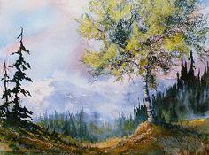 Leafy Tree. watercolor & pastel by Teresa Ascone