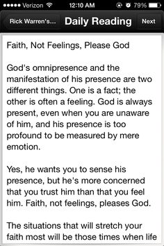Faith not feelings please God part 1