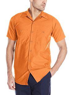 Red Kap Men's Industrial Short-Sleeve Work Shirt,Orange, 2X-Large