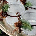 Neat idea for table candle decor around the Christmas holiday.