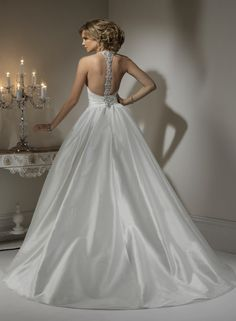Taffeta Halter Neckline Ball Gown Wedding Dress (back)