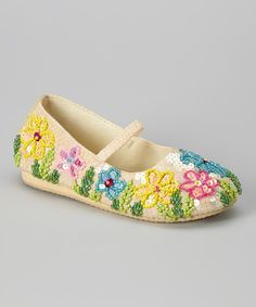 Look at this #zulilyfind! Cream Beaded Floral Flat by Fairy Dreams #zulilyfinds
