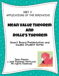 Rolle's and the mean value theorem homework